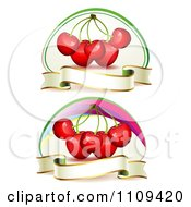 Clipart Bing Cherries With Blank Banners Royalty Free Vector Illustration by merlinul