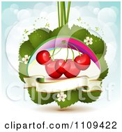 Bing Cherries On Leaves With Blossoms A Rainbow And Butterflies Over Blue With Flares