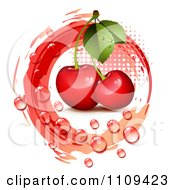 Clipart Bing Cherries With Droplets Halftone And A Red Circle Royalty Free Vector Illustration