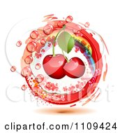 Clipart Bing Cherries With A Rainbow Droplets Halftone And A Red Circle Royalty Free Vector Illustration by merlinul