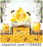 Clipart Honey Bees With Jars Blossoms And A Natural Guaranteed Banner Royalty Free Vector Illustration