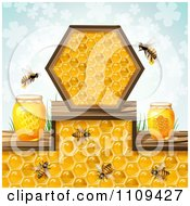 Clipart Honey Bees With Jars Over A Pattern Of Blue Clovers Royalty Free Vector Illustration by merlinul