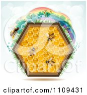 Clipart Honey Comb Hexagon With Bees And A Clover Rainbow On Blue Royalty Free Vector Illustration