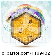 Clipart Honeycomb Hexagon With Bees And A Clover Rainbow On Blue Royalty Free Vector Illustration