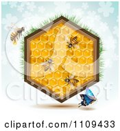Clipart Butterfly And Bees With A Honey Comb Hexagon With Grass And Clovers On Blue Royalty Free Vector Illustration
