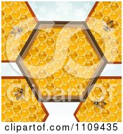 Clipart Bees On Honeycombs With A Hexagon Center Over Clovers Royalty Free Vector Illustration