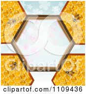 Clipart Bees On Honeycombs With A Hexagon Frame Over Clovers Royalty Free Vector Illustration