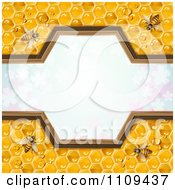 Clipart Frame Of Bees On Honey Combs Over Clovers Royalty Free Vector Illustration