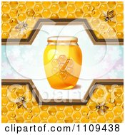 Clipart Honey Bees With A Jar And Pattern Of Clovers Royalty Free Vector Illustration