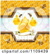 Clipart Bees And Honeycombs With A Natural Label Over Clovers 1 Royalty Free Vector Illustration