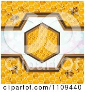 Clipart Bees On Honeycombs With A Hexagon Over Clovers Royalty Free Vector Illustration