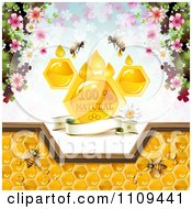 Clipart Bees And Honeycombs With A Natural Label Over Clovers 2 Royalty Free Vector Illustration
