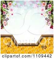 Clipart Frame Of Blossoms And Bees On Honey Over Clovers Royalty Free Vector Illustration by merlinul #COLLC1109442-0175