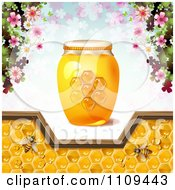Clipart Honey Bees With Blossoms A Jar And Pattern Of Clovers Royalty Free Vector Illustration