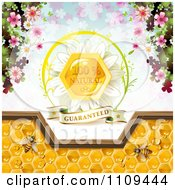 Clipart Bees And Honeycombs With A Natural Label Over Clovers 3 Royalty Free Vector Illustration