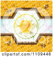 Clipart Bees And Honeycombs With A Natural Label Over Clovers 5 Royalty Free Vector Illustration