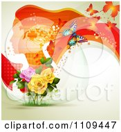 Clipart Background Of A Red Profiled Woman With Long Hair Butterflies And Roses Royalty Free Vector Illustration by merlinul