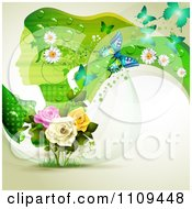 Clipart Background Of A Green Profiled Woman With Long Hair Butterflies And Roses Royalty Free Vector Illustration by merlinul