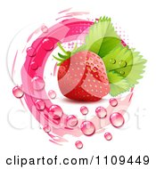 Fresh Strawberry And Droplets With Pink Halftone And Marks