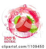 Clipart Fresh Strawberry And Droplets With Natural Text Pink Halftone And Marks Royalty Free Vector Illustration by merlinul
