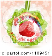 Clipart Strawberry With Shamrocks A Rainbow And Leaves Over Clovers On Pink Royalty Free Vector Illustration by merlinul