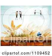 Clipart Butterfly Birds And Wheat Over A Brick Wall Royalty Free Vector Illustration by merlinul