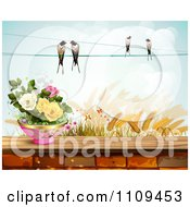 Birds On A Wire Over Wheat And Pottted Roses On A Brick Wall