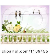Clipart Birds On A Wire Over Roses Wheat And A Butterfly Over Columns Royalty Free Vector Illustration by merlinul