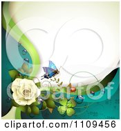 Clipart White Rose With Dew Clovers A Butterfly And Copyspace Royalty Free Vector Illustration