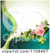 Clipart Pink Rose With Dew Clovers A Butterfly And Copyspace Royalty Free Vector Illustration