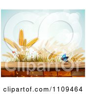Clipart Butterfly And Wheat Over A Brick Wall Royalty Free Vector Illustration by merlinul