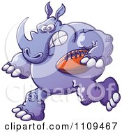 Clipart Purple Rubgy Football Rhino Royalty Free Vector Illustration by Zooco