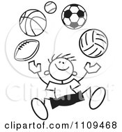 Clipart Black And White Sticker Boy Juggling Balls Royalty Free Vector Illustration by Johnny Sajem
