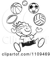 Clipart Black And White Sticker Girl Juggling Balls Royalty Free Vector Illustration