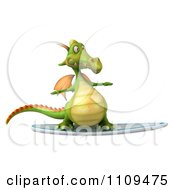 Clipart 3d Green Dragon Surfing 1 Royalty Free CGI Illustration