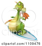Clipart 3d Green Dragon Surfing 2 Royalty Free CGI Illustration