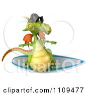 Clipart 3d Green Dragon Surfing 3 Royalty Free CGI Illustration