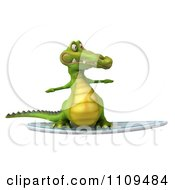 Clipart 3d Crocodile Surfing 1 Royalty Free CGI Illustration