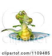 Clipart 3d Crocodile Surfing 2 Royalty Free CGI Illustration