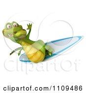 Clipart 3d Crocodile Surfing 3 Royalty Free CGI Illustration
