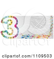 Clipart Colorful Number 3 Banner With Scratches Royalty Free Vector Illustration