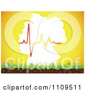 Clipart German Map Sun With A Heartbeat Graph Over Flowers And Grass Royalty Free Vector Illustration