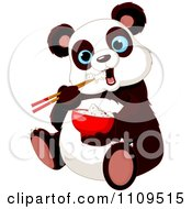 Clipart Cute Hungry Panda Eating Rice With Chopsticks Royalty Free Vector Illustration by Pushkin