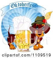 Clipart German Daschund Dog With A Pint Of Beer And Oktoberfest Banner On Blue Rays Royalty Free Vector Illustration