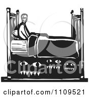 Clipart Man With Monsters Under His Bed Black And White Woodcut Royalty Free Vector Illustration