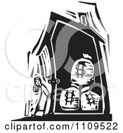 Girl Standing Outside A House With Money Bags Black And White Woodcut