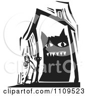 Clipart Girl Standing Outside A House With A Monster Inside Black And White Woodcut Royalty Free Vector Illustration