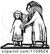 Old Man And Young Girl Black And White Woodcut