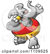 Clipart Elephant Throwing A Shot Put Royalty Free Vector Illustration by Zooco