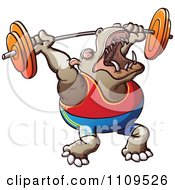 Clipart Strong Bodybuilder Hippo Weight Lifting Royalty Free Vector Illustration